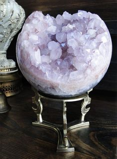 Beautiful Jumbo Rare Pink Amethyst Crystal Geode Sphere by GrayVervain