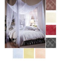 Adorn your bedroom with this polyester four-point bed canopy by Mombasa. This flowing bed canopy adds an elegant and sophisticated touch to the bedroom and is ideal for use during the summer. Its large size is designed to drape across your bed. Bed Net Canopy, Indoor Canopy, Bed Crown Canopy, Canopy Curtains, Bed Canopies, Wall Curtains, House Canopy, Backyard Canopy, Garden Canopy