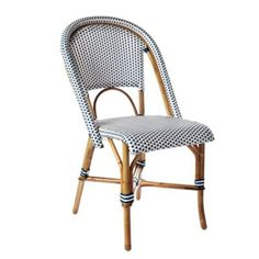 Great Blue And White Woven French Bistro Cafe Chair