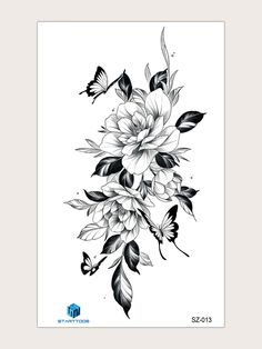 Tattoo Design Drawings, Tattoo Sleeve Designs, Sleeve Tattoos, Floral Back Tattoos, Floral Tattoo Design, Vintage Floral Tattoos, Butterfly Thigh Tattoo, Butterfly Tattoo Designs, Flower Sleeve