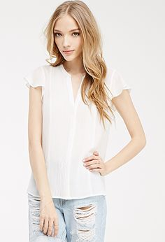 Pintuck Pleated Chiffon Blouse | FOREVER21 - 2049257899