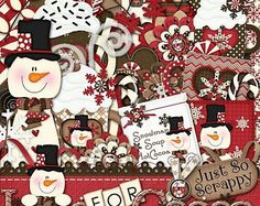 On Sale 50% Off Winter Digital Scrapbooking Kit Loco For Cocoa, Scrapbooking, Digital