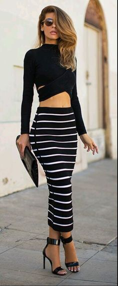 574029229d8 Unique Striped Bodycon Stretch style and two pieces dresses design makes  women more sexy and fashion Material  Polyester Color  Black Collar  O-Neck  Sleeve  ...