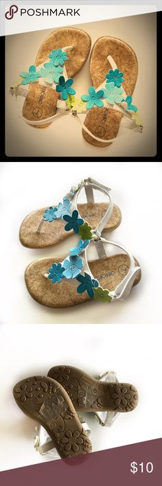 💙Cork Sandals💙 Adorable! I think I'd wear them if they'd fit😂 they have cork bottoms, rubber soles, and pretty blue and green flowers. Hardly worn before she grew out of them. Excellent Used Condition. Cherokee Shoes Sandals & Flip Flops