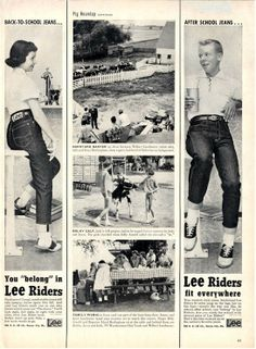 """""""You Belong in Lee's"""" . love the center pics of country life Mode Vintage, Retro Vintage, Vintage Style, Fifties Fashion, Vintage Fashion, Vintage Jeans, Vintage Outfits, Life In The 1950s, Cat Memorial"""