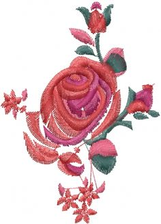 """This free embroidery design is called """"Fancy Red Rose""""."""