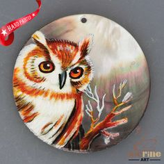 HAND PAINTED OWL BIRD NATURAL MOTHER OF PEARL SHELL NECKLACE PENDANT ZH30 00222 #ZL #PENDANT