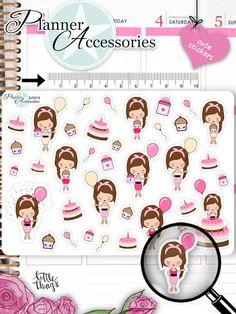 Sticker - Geburtstag Sticker Girl Sticker NR874 - ein Designerstück von PlannerAccessories bei DaWanda