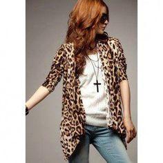 $9.16 Stylish Leopard Print Irregular Hem Long Sleeve Coat for Women  Love this!