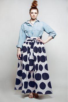 JIBRI Plus Size High Waist Polka Dot Maxi Skirt door jibrionline