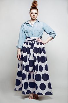 JIBRI Plus Size High Waist Polka Dot Maxi Skirt by jibrionline, $120.00 / PERFECT FOR MY TRIP TO DR :)