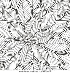 Pattern for coloring book. Leaves. Ethnic, floral, retro, doodle, tribal design element. Black and white background. Zentangle patterns.