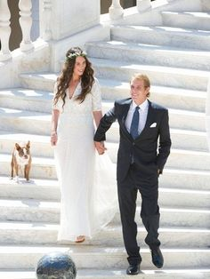 31 August Wedding Photos of Andrea Casiraghi and Tatiana Santo Domingo.Civil wedding ceremony of Andrea Casiraghi and Tatiana Santo Domingo at the Royal Palace in Monaco. Andrea Casiraghi, Charlotte Casiraghi, Hollywood Fashion, Royal Fashion, Royal Brides, Royal Weddings, Lace Wedding Dress, Wedding Gowns, Wedding Ceremony