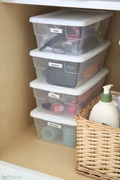 For infrequently used items: Buy small clear storage boxes from the dollar store, to store items under your bathroom sink that you don't use daily Organisation Hacks, Bathroom Organization, Bathroom Storage, Storage Organization, Bathroom Cabinets, Bathroom Faucets, Small Bathroom, Grand Menage, Diy Rangement