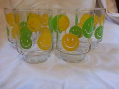 SALE 25 OFF Yellow and Lime Green Smiley Faces 12 oz by PastBack, $30.00