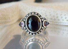 New Sterling Silver 925 ETRUSCAN Style Black Onyx Amethyst Gemstone Ring Size 7 #Statement