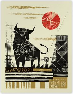 'Bull' by Texas-based American artist Curtis Jinkins. Silkscreen, edition of 18 x 24 in. via poster cabaret Modern Graphic Design, Graphic Design Illustration, Graphic Design Inspiration, Illustration Art, Retro Design, Cabaret, Illustrations Posters, Pablo Picasso, Illustrators