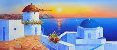 Santorini Sunset 4- Oil Painting on Canvas,LandscapePainting,Palette Knife,SummerPainting,GreecePainting,Santorini Greece,Greek island
