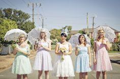 mismatched bridesmaids dresses in pastels http://burnettsboards.com/2012/10/vintage-pastels/