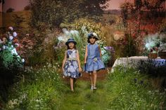 The beautifully decorated summer meadow catwalk at Il Gufo for kids fashion spring 2016