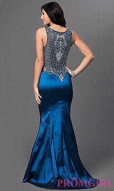 Long Satin V-Neck Prom Dress MF-E1933 at PromGirl.com