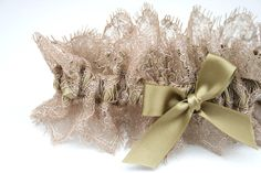 gold and lace custom wedding garter - perfect for fall wedding - handmade by The Garter Girl