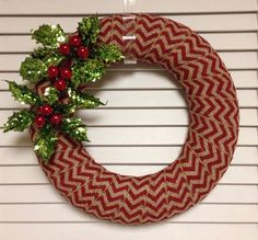 "Christmas Wreath, 12"" Red Chevron Burlap with Holly and Berries"