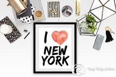 Typographic Wall Art I Heart New York City by RubyRidgeStudios