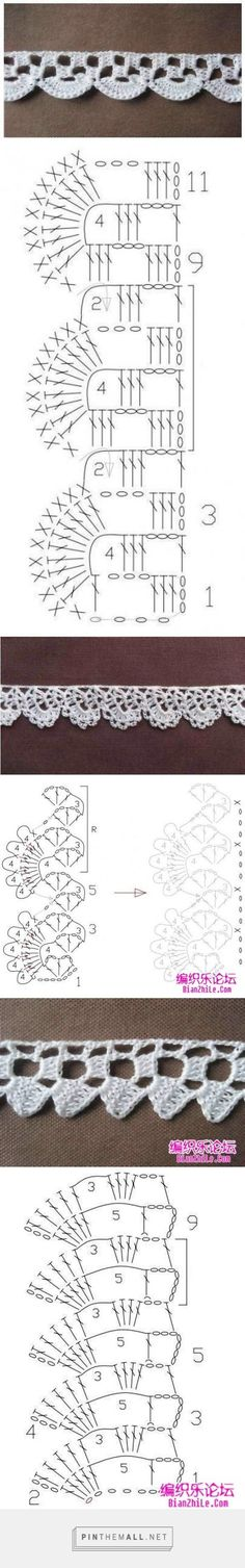 Crochet Edging And Borders More easy crochet lace edgings charted and samples by MyPicot. Originally from the Home Work book, published - Crochet Boarders, Crochet Lace Edging, Crochet Trim, Crochet Doilies, Easy Crochet, Crochet Flowers, Knit Crochet, Filet Crochet, Crochet Chart