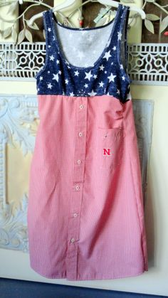 I bought a $3. tank from Walmart and married it to my hubby's Nebraska Huskers dress shirt.  I love it... but I found some tips!