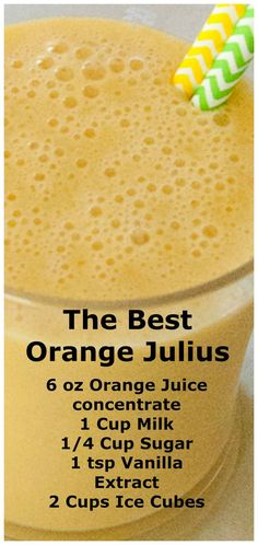 The Best Orange Julius Recipe ~ Quick and easy… Full of flavor and not watered down! Fruit Drinks, Smoothie Drinks, Non Alcoholic Drinks, Healthy Drinks, Cocktails, Beverages, Nutrition Drinks, Healthy Snacks, Healthy Breakfasts