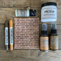 Craft Stick Crafts, Paper Crafts, Brickwork, Paint Line, Distress Oxide Ink, Tim Holtz, Distressed Painting, Walnut Stain, Embossing Folder