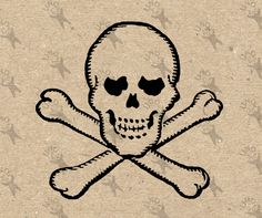 Jolly Roger Pirate Symbol Skull Vintage image Instant Download Digital printable clipart graphic - scrapbooking, burlap, t-shirt  HQ 300dpi by UnoPrint on Etsy