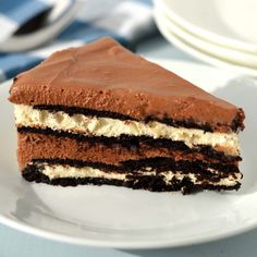 This no bake chocolate hazelnut cream cake has layers of chocolate wafers, luscious cream cheese, and hazelnut cream.