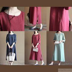 Navy linen sundress long causal summer maxi dress maternity clothing