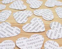 100 Wedding Words Confetti Hearts - Engagement, Wedding, Anniversary - Heart Table Decor, Invitations, Vintage Decor