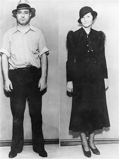 """""""Machine Gun"""" Kelly (1895-1954), seen with his wife, Kathryn, got his nickname thanks to his favorite weapon, a Thompson submachine gun. His crimes included kidnapping, robbery and bootlegging. His gang's most famous crime was kidnapping oil tycoon Charles F. Urschel in July 1933. Urschel memorized evidence that helped the FBI find and arrest Kelly and his wife."""
