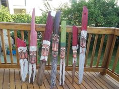 Current Driftwood Santa's for my 2013 Season Painted by talented Karen Russo