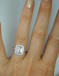 Herkimer Diamond Ring Emerald Cut Sterling Silver by greengem, $295.00