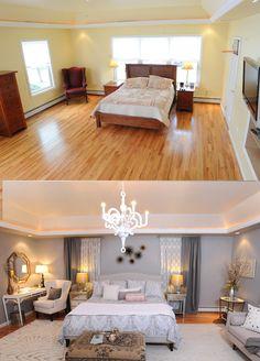 Great layout- skinny vanity on side, sofa or window bench opposite -Sabrina Soto Bedroom
