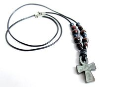 Mens cross necklace hematite cross leather by Bravemenjewelry