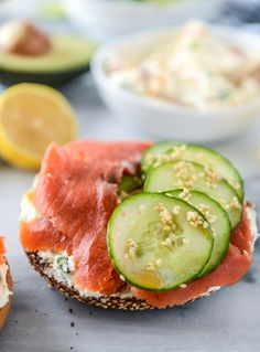 homemade roasted veggie cream cheese and a perfect lox bagel I howsweeteats.com