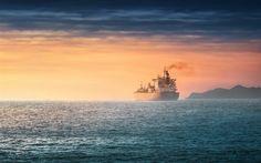 Télécharger fonds d'écran Antwerpen, mer, paysage, cargo, en vrac transporteur, coucher de soleil