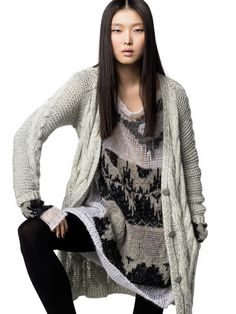 """""""In this image: Cardigan (1104E6452); Dress (1142V1689); Leggings (6AB8D2142). Fall/Winter 2012 United Colors of Benetton woman collection."""""""