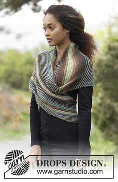 Herbs & Spices - Knitted shawl worked diagonally with garter stitch and stripes. Piece is knitted in DROPS Delight. Free knitted pattern DROPS 180-25