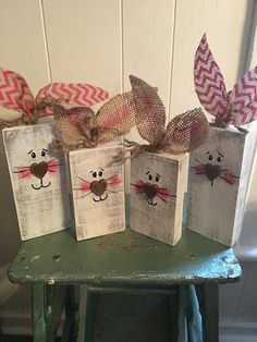 My adorable 2x4 Easter Bunnies  My Picky Pallet by Geri Spears