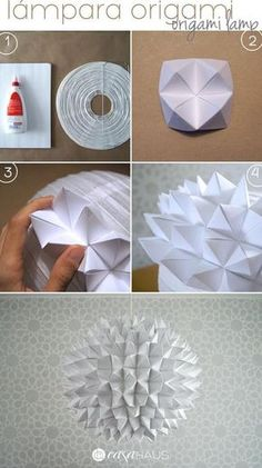 Steps for origami lamp / Origami pendant steps / Casa Haus Source by Origami Owl Easy, Paper Crafts Origami, Useful Origami, Origami Art, Diy Paper, Origami Bookmark, Origami Patterns, Origami Decoration, Origami Design