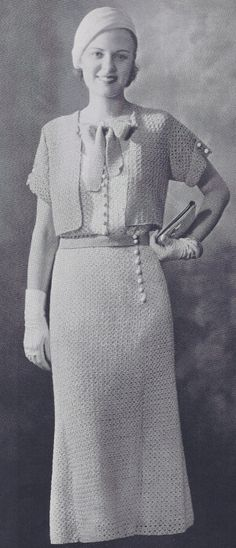 Vintage Sun Dress, Bolero Jacket, & Hat Crochet Patterns