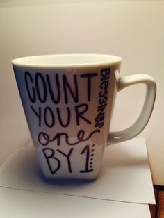 Count Your Blessings One by 1  12 oz. Porcelain by yourstohold, $14.00