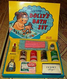 Vintage 1950's My Merry Dolly's BATH Set with Original Contents